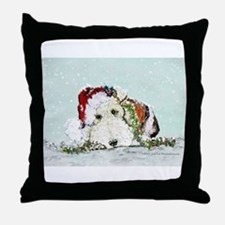 Fox Terrier Christmas Throw Pillow