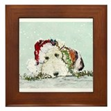 Wire fox terrier christmas Framed Tiles