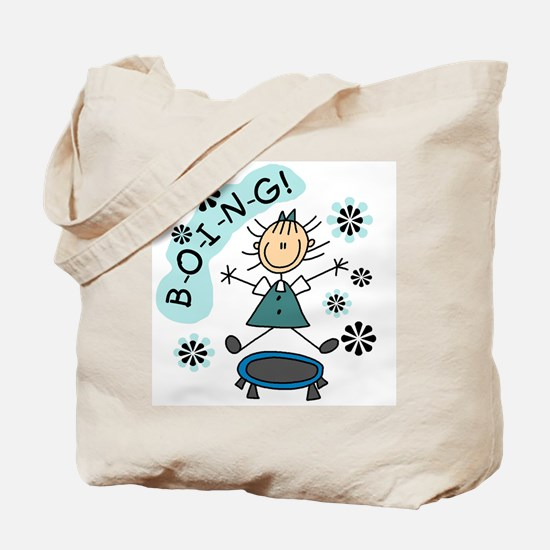 Girl on Trampoline Tote Bag