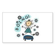 Girl on Trampoline Rectangle Decal