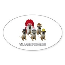 Village Puggles Oval Decal