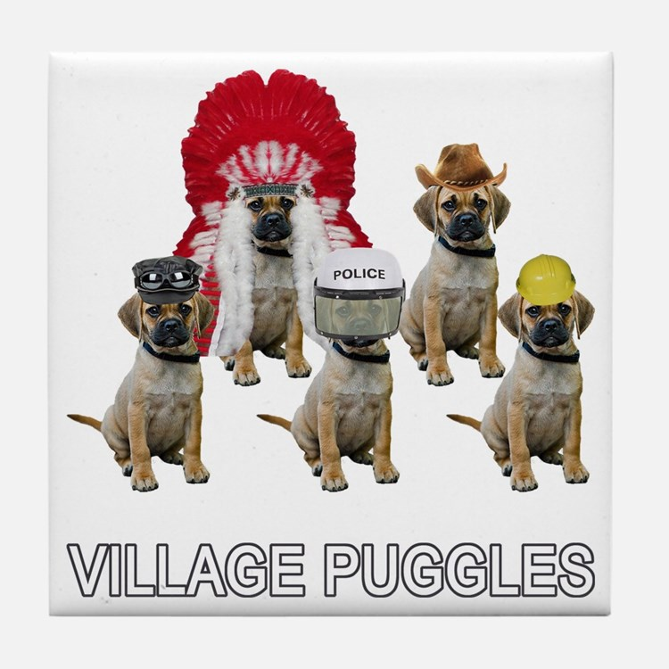 Village Puggles Tile Coaster