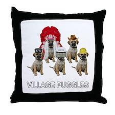 Village Puggles Throw Pillow