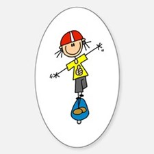 Girl Skateboarder Oval Decal