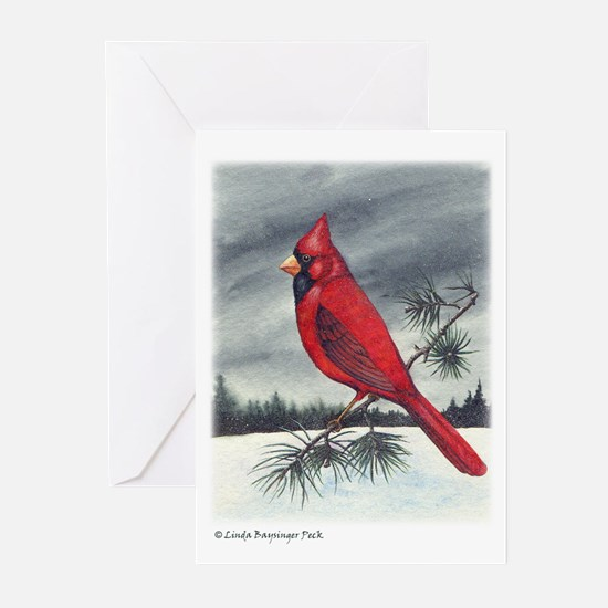 Cardinal on Pine/text Greeting Cards (Pk of 10)