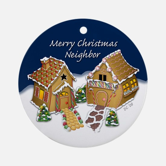 Merry Christmas Neighbor (round) Round Ornament