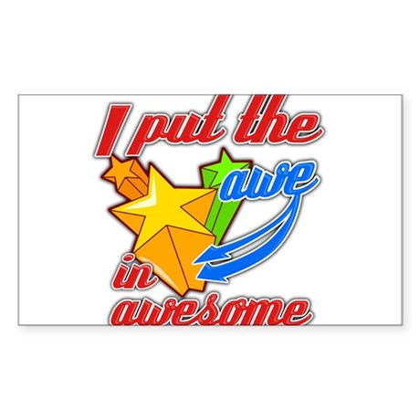 Awe in awesome Rectangle Sticker