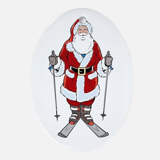 Santa Ski Oval Ornament