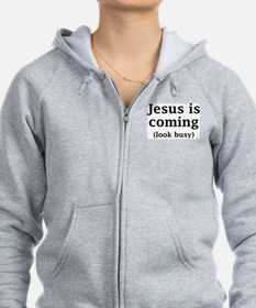 Cute Look busy jesus is coming Zip Hoodie