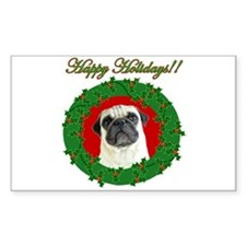 Happy Holidays Pug Rectangle Decal