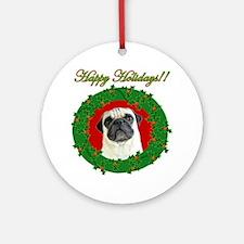 Happy Holidays Pug Ornament (Round)