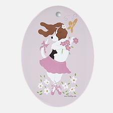 Basset Hound Ballerina Oval Oval Ornament