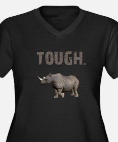 Tough Black Rhino Women's Plus Size V-Neck Dark T-