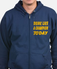 Drink Like a Champion Zip Hoodie (dark)