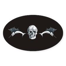 Skull & sailfish Oval Decal