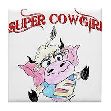 Cartoon super cow-girl Tile Coaster