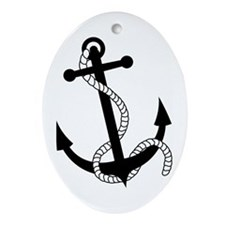 Rockabilly Tattoo Anchor Oval Ornament