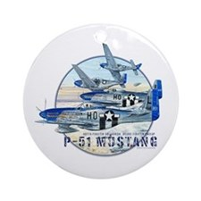 P-51 Mustang airplane Ornament (Round)