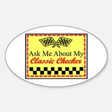 """Ask About My Checker"" Oval Decal"
