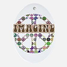 Imagine Peace On Earth Oval Ornament
