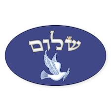 Shalom w/Dove /Bg (Hebrew) Oval Decal