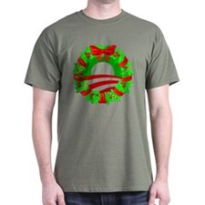 Barack Obama Christmas Wreath T-Shirt