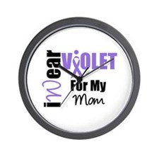 I Wear Violet Ribbon Wall Clock