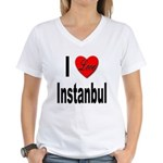 I Love Instanbul Turkey (Front) Women's V-Neck T-S