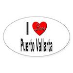 I Love Puerto Vallarta Oval Sticker (10 pk)