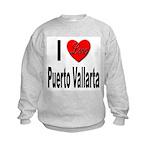 I Love Puerto Vallarta (Front) Kids Sweatshirt