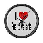 I Love Puerto Vallarta Large Wall Clock