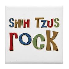 Shih Tzus Rock Dog Owner lover Tile Coaster