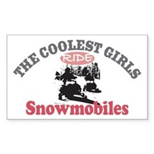 Coolest Girls Snowmobile Rectangle Decal