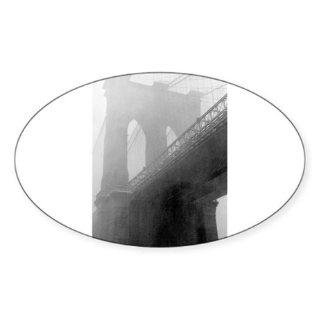 BROOKLYN BRIDGE -Fog Oval Sticker