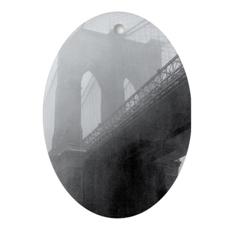 BROOKLYN BRIDGE -Fog Oval Ornament