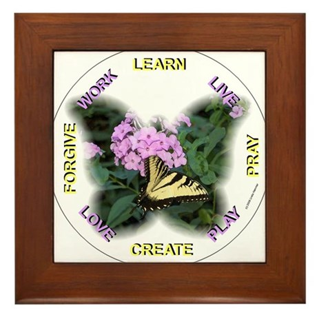 BUTTERFLY WORDS TO LIVE BY Framed Tile
