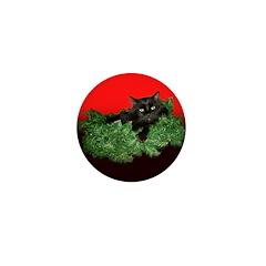 Furry Cat Christmas Wreath Mini Button (100 pack)