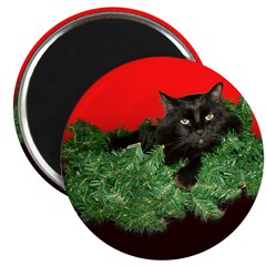 Furry Cat Christmas Wreath Magnet