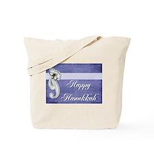 Happy Hanukkah with Silver Bo Tote Bag