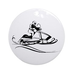 Snow Mobiling Ornament (Round)