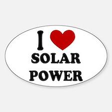 I Heart Solar Power Oval Decal