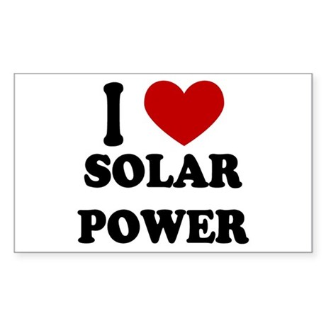I Heart Solar Power Rectangle Sticker