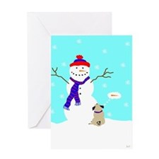 SnowmanPug Greeting Cards