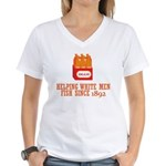 Beer Helping Men Fish Women's V-Neck T-Shirt