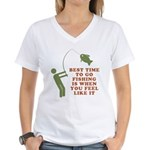 Best Time To Fish Women's V-Neck T-Shirt