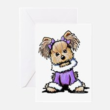 Purple Yorkie Cutie Greeting Cards (Pk of 20)