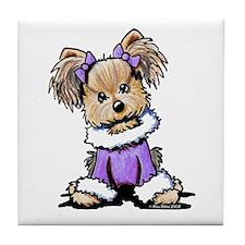 Purple Yorkie Cutie Tile Coaster