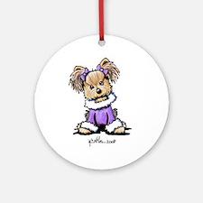 Purple Yorkie Cutie Ornament (Round)