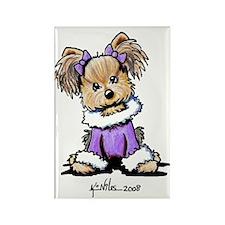 Purple Yorkie Cutie Rectangle Magnet