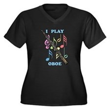 I Play Oboe Women's Plus Size V-Neck Dark T-Shirt
